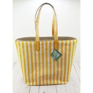 Barnes & Noble Woven Canvas Tote Yellow Stripes